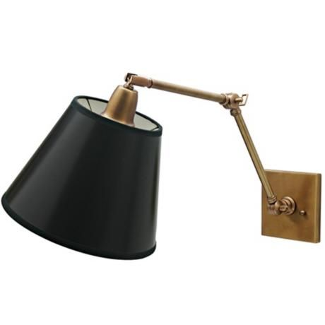 Weathered Brass Black Shade Hardwire Swing Arm Wall Lamp - #47405 | Lamps Plus