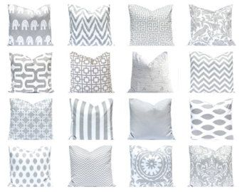 Gray Pillow Cover, Decorative Throw Pillow Cover, Cushion Cover 16 x 16  Inches Nursery