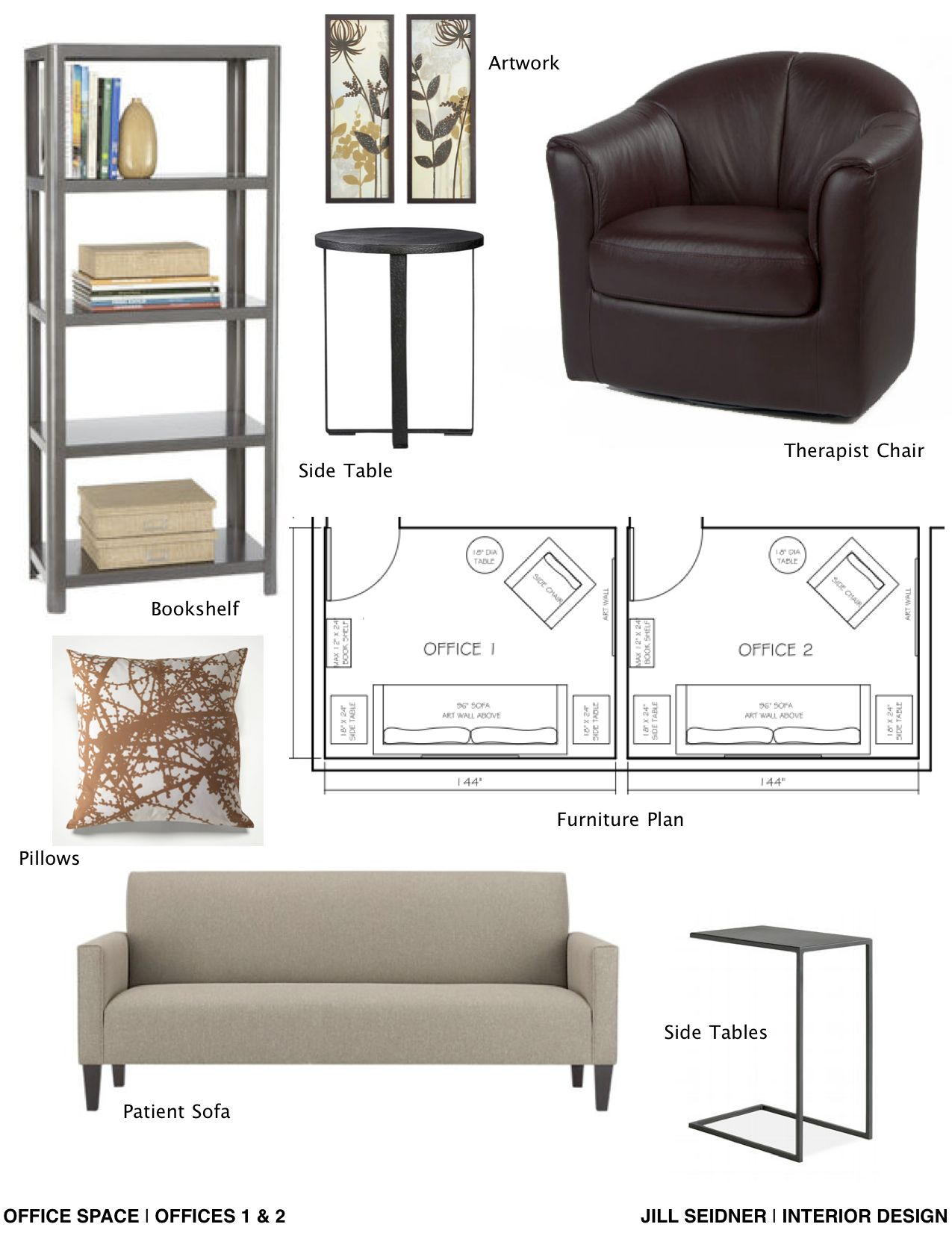 Concept board and furniture layout for therapist office