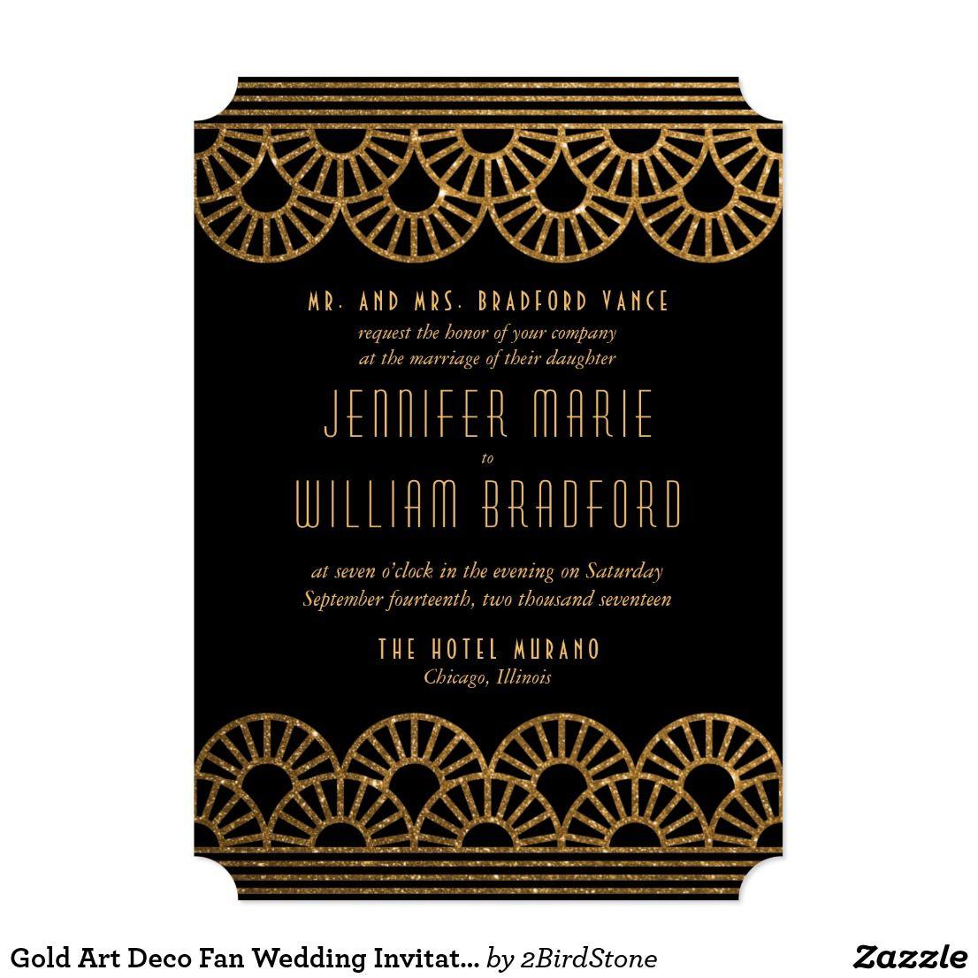 Gold Art Deco Fan Wedding Invitation Gatsby