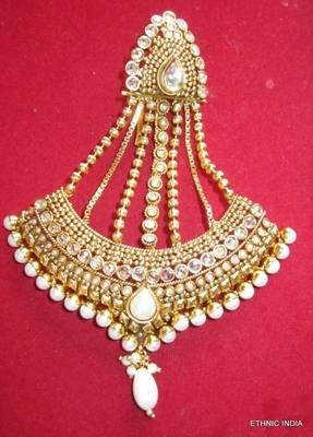 Engagement & Wedding Bridal & Wedding Party Jewelry Precise Gold Tone Kundan Stone Ethnic Traditional Jhoomar Passa Forehead Jewellery