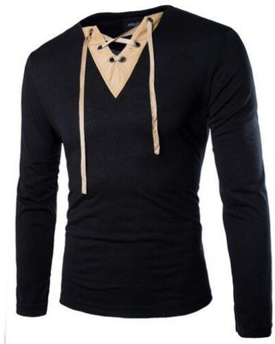 9c51986388a7 Lace up t shirt long sleeve V neck tshirts for men slim fit   mens ...