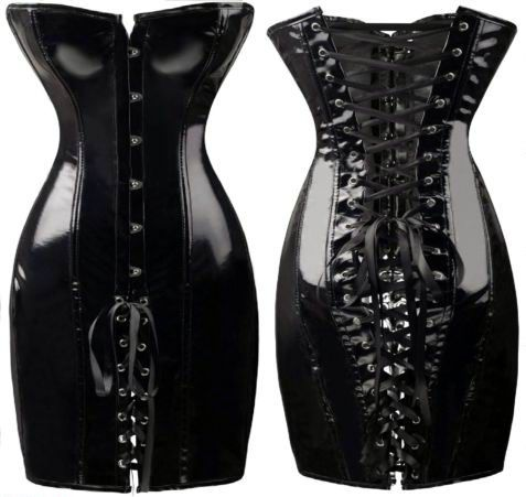 black pvc corset dress with front and back lacing