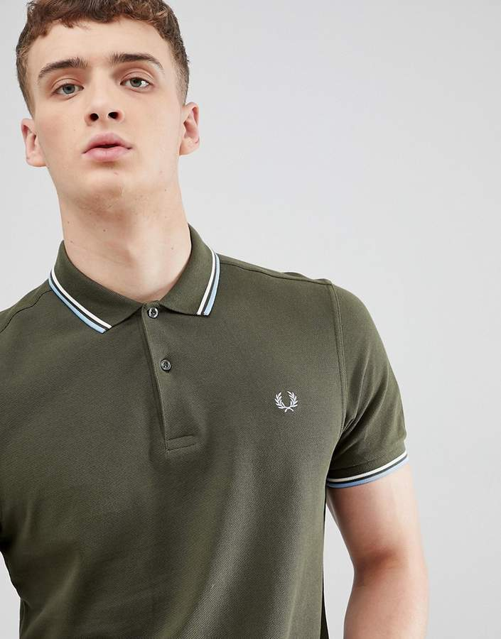 2a9239334 Fred Perry twin tipped polo shirt in dark green