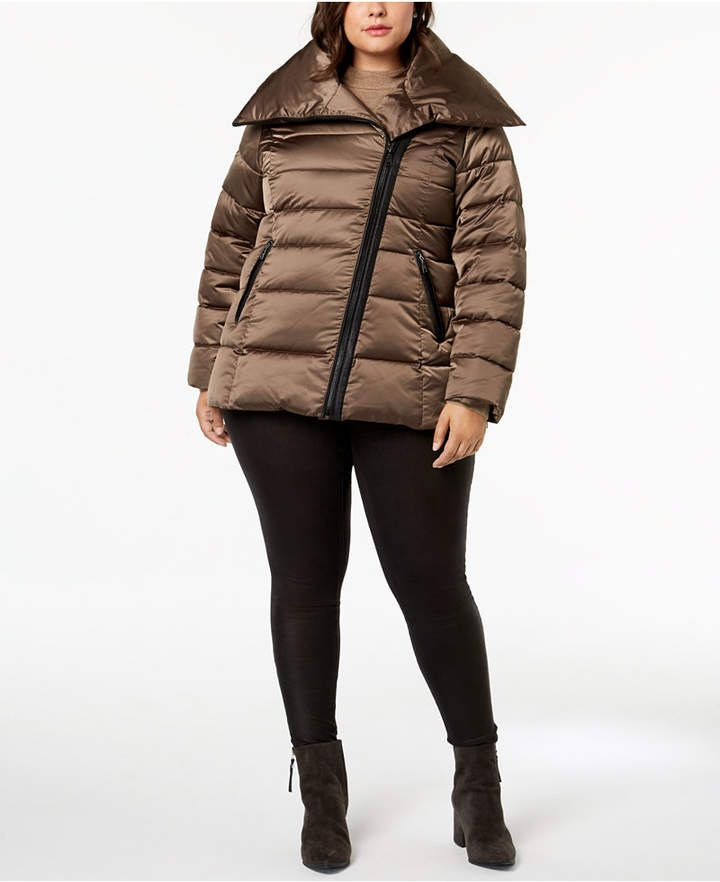 ce29b95348c T Tahari Plus Size Asymmetrical Puffer Coat