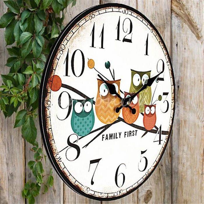 Promosi Terbaik Desain Modern Owl Antik Pedesaan Lusuh Chic Rumah Kantor Cafe Dekorasi Seni Jam Dinding Besar Di Jam Dinding Reloj Retro Retro Oficina En Casa