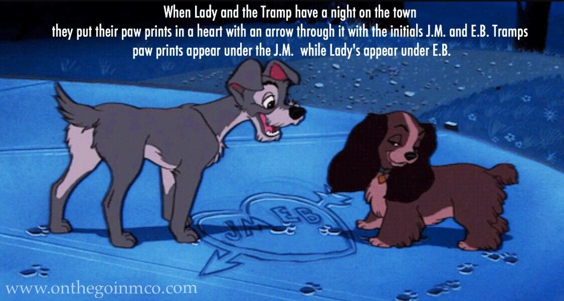 Fun Facts Lady and the Tramp #D23Fanniversary Home Edition - When Lady and the Tramp have a night on the town they put their paw prints in a heart with an arrow through it with the initials J.M. and E.B. Tramps paw prints appear under the J.M. while Lady's appear under E.B.