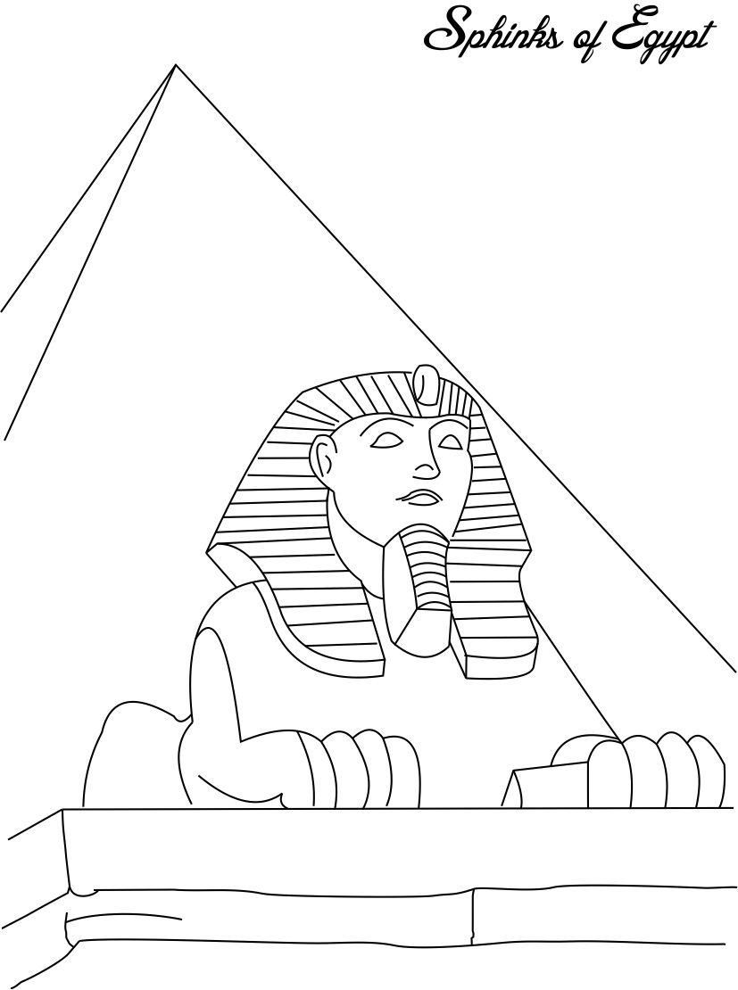Sphinks Of Egypt Coloring Page For Kids Sphinks Of Egypt Coloring