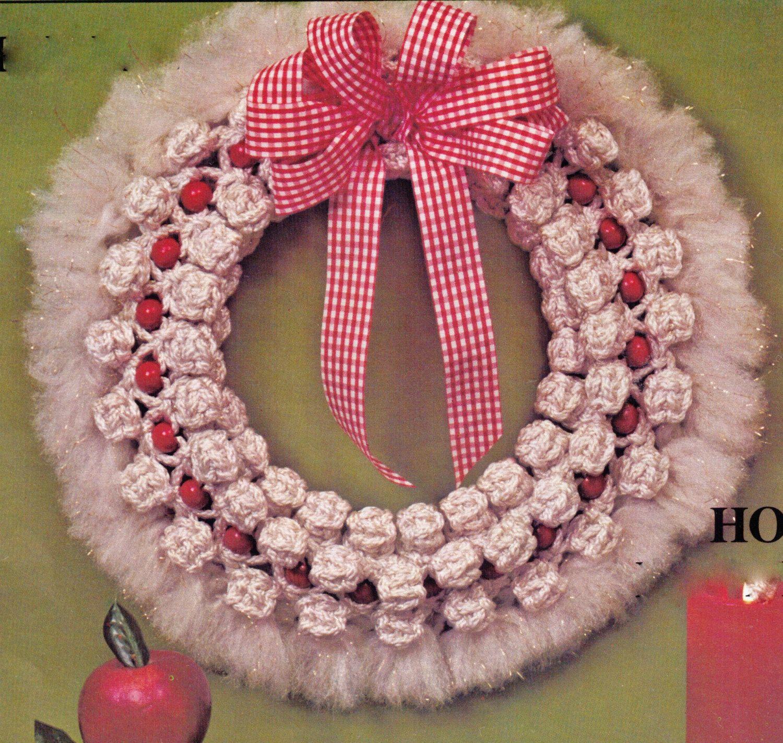 VINtAGE MACRAME CHRISTMAS Wreath WHITe RETRo LIFESTyLe HOLIDaY ...