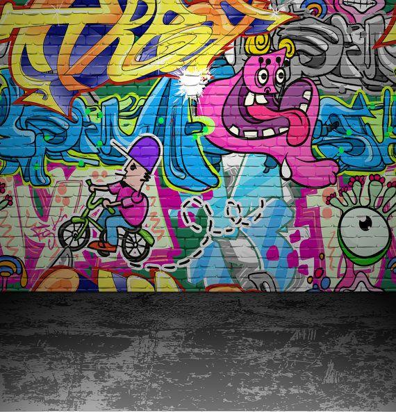 Graffiti Backdrop Colored Brick Wall Distressed Concrete Etsy Graffiti Wall Urban Street Art Graffiti Wall Art