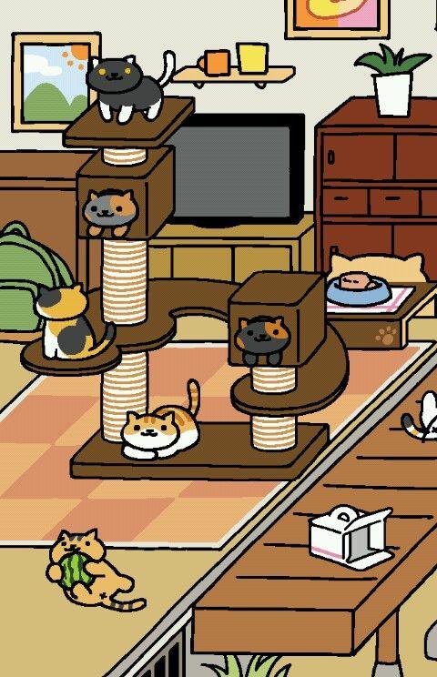 now that s a full cat tree neko atsume neko neko atsume neko rh pinterest com