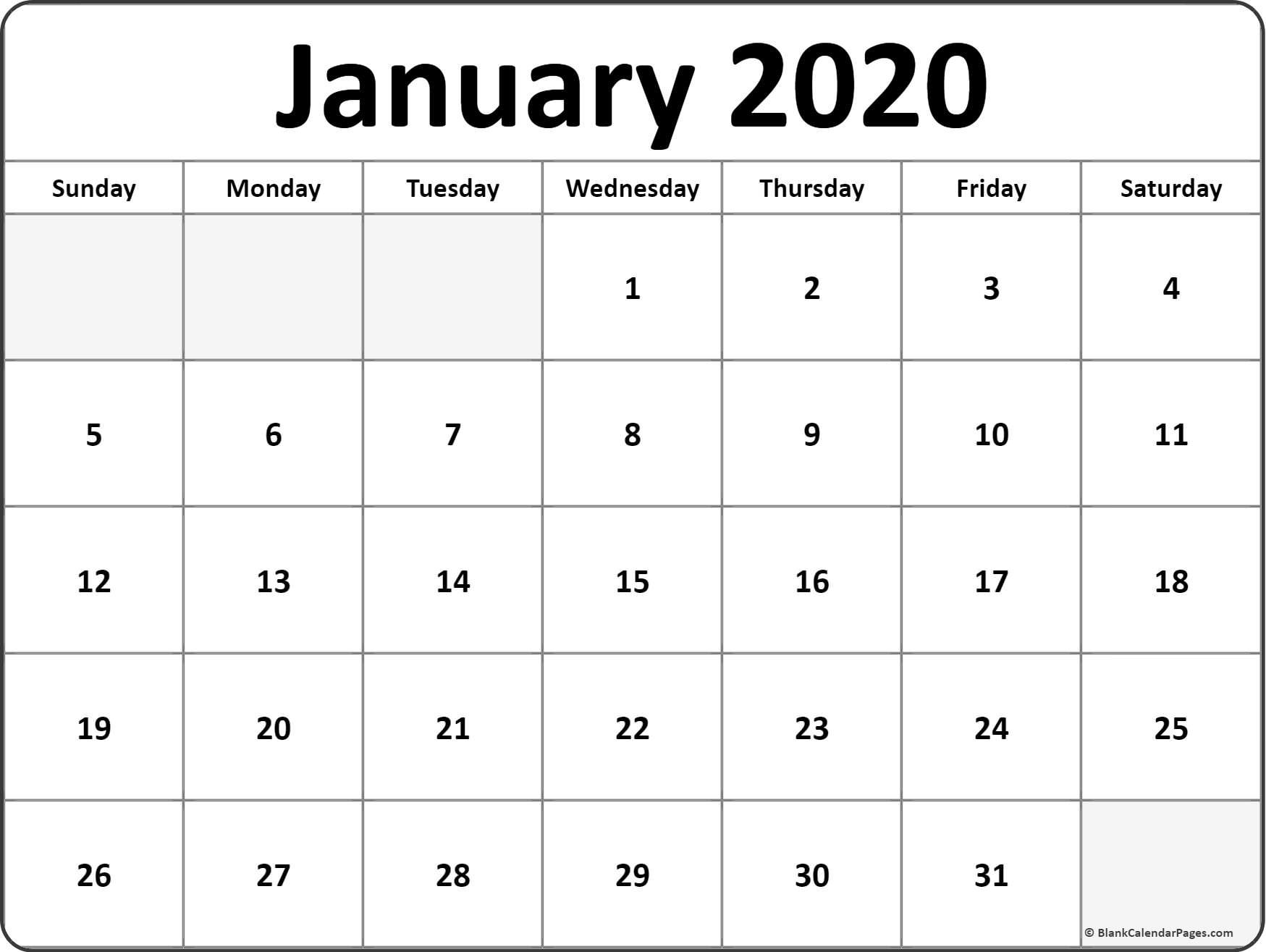 January 2020 Calendar Printable Template Pdf Word Excel