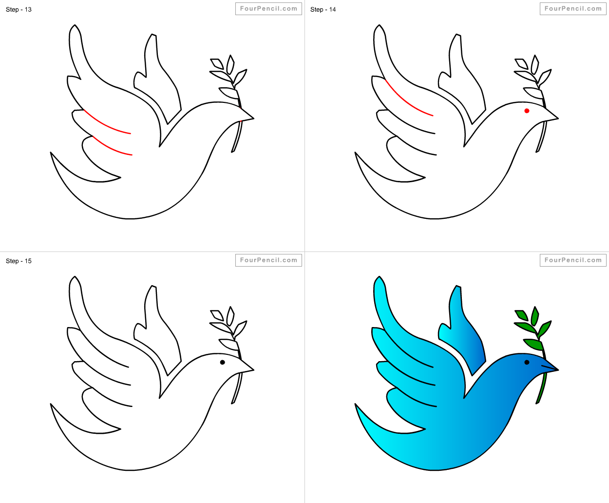 how to draw dove for kids step by step drawing tutorial draw dove