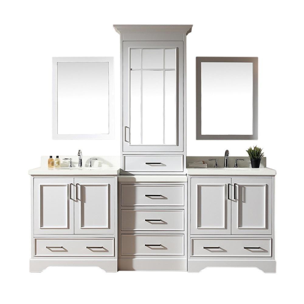 Ariel Stafford 85 In Bath Vanity In White With Quartz Vanity Top