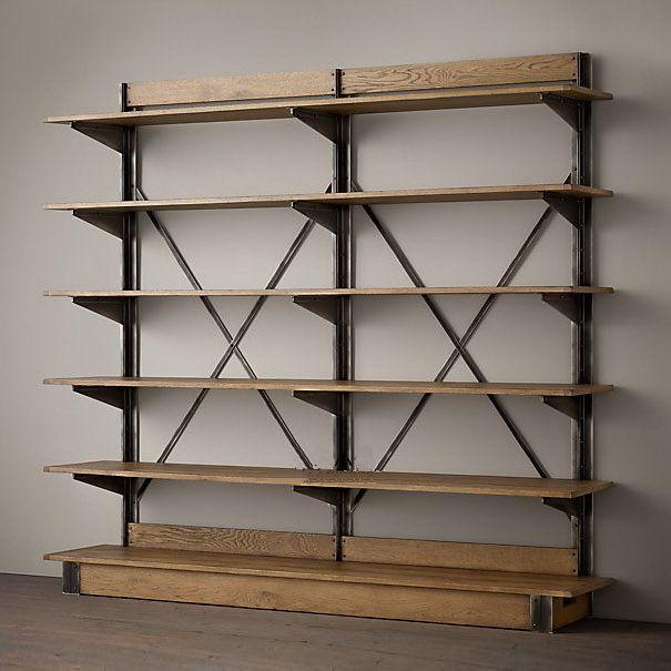 Americana de hierro de época suelo de madera bastidores estantería ...
