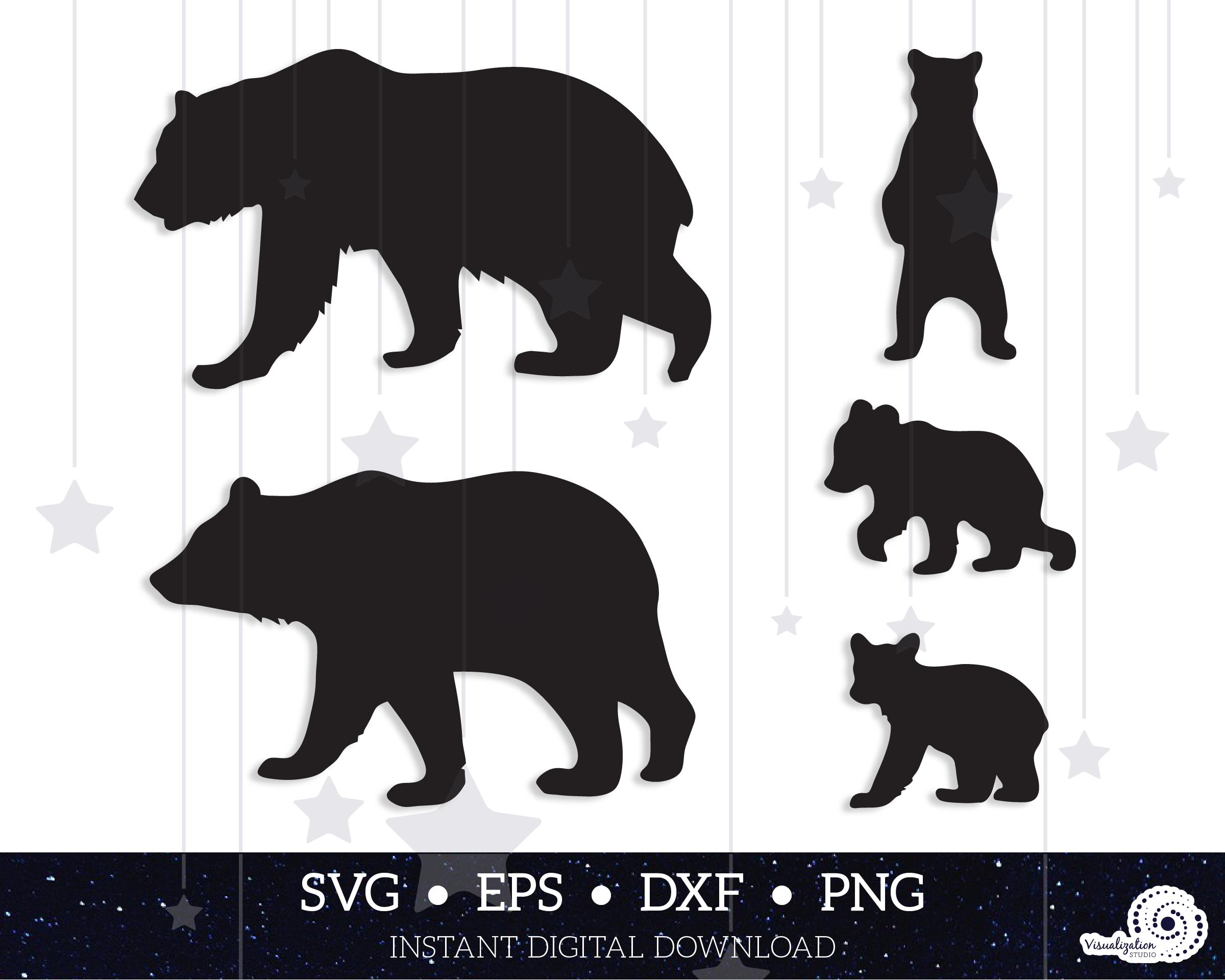 Bear Family Mama Bear Papa Bear Cubs Vectors Instant Etsy Mama Bear Papa Bear Bear Cubs Mama Bear