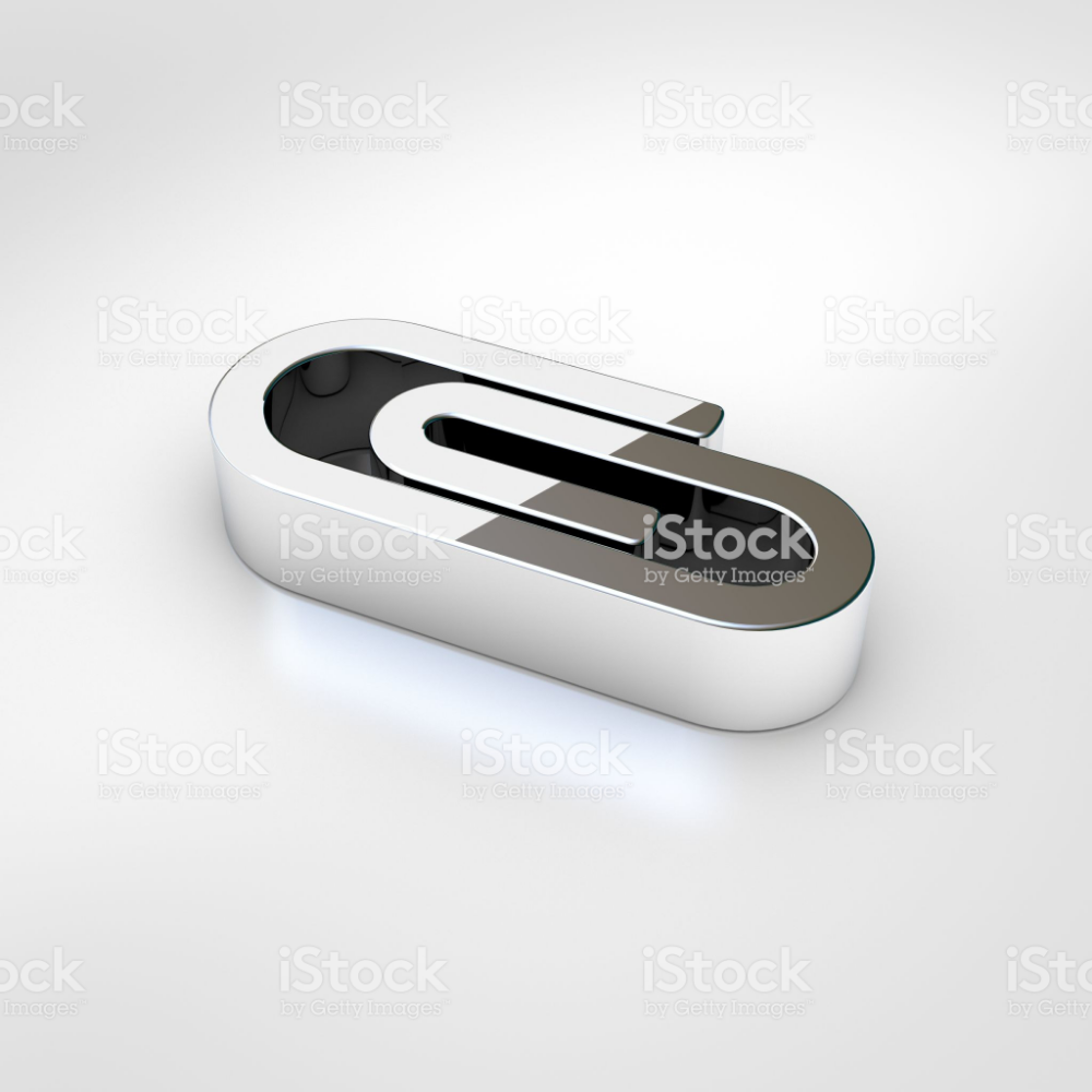 Paperclip Icon 3d Render Of Chrome Paperclip Symbol Isolated On Stock Images Free Paper Clip Business Photos