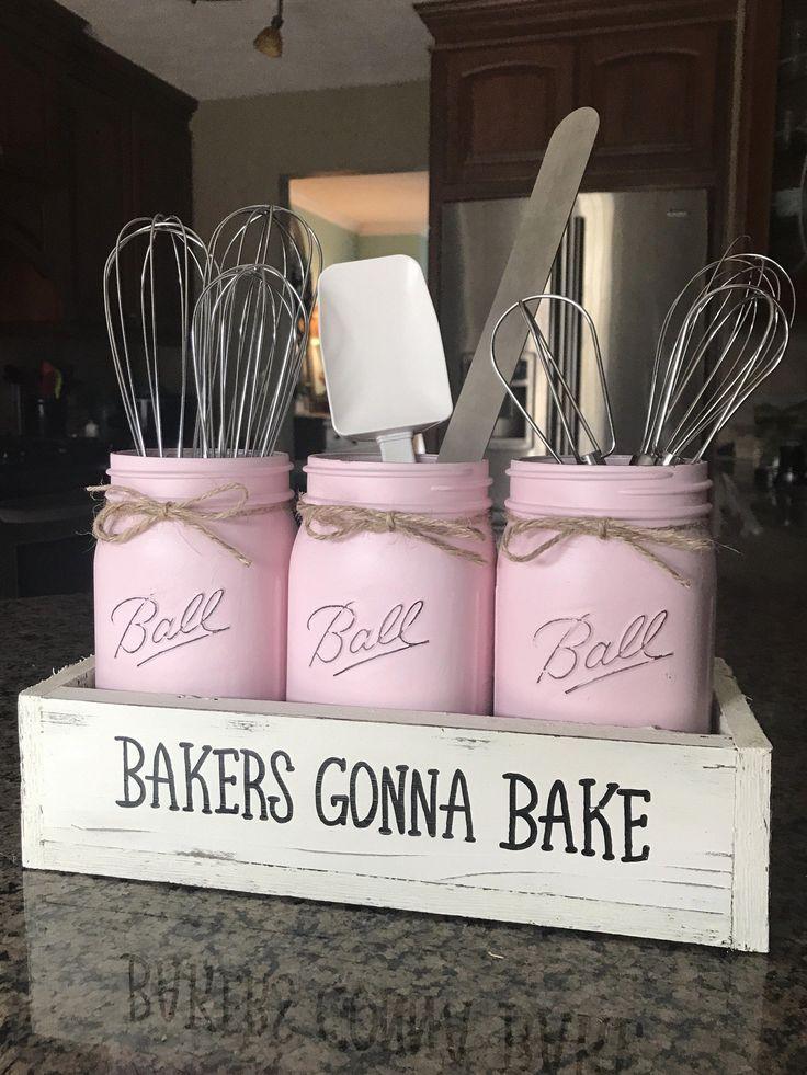 Bakers Gonna Bake Mason Jar Utensil Holder images