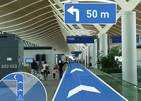 Augmented reality indoor navigation map interface design for Indoor navigation design