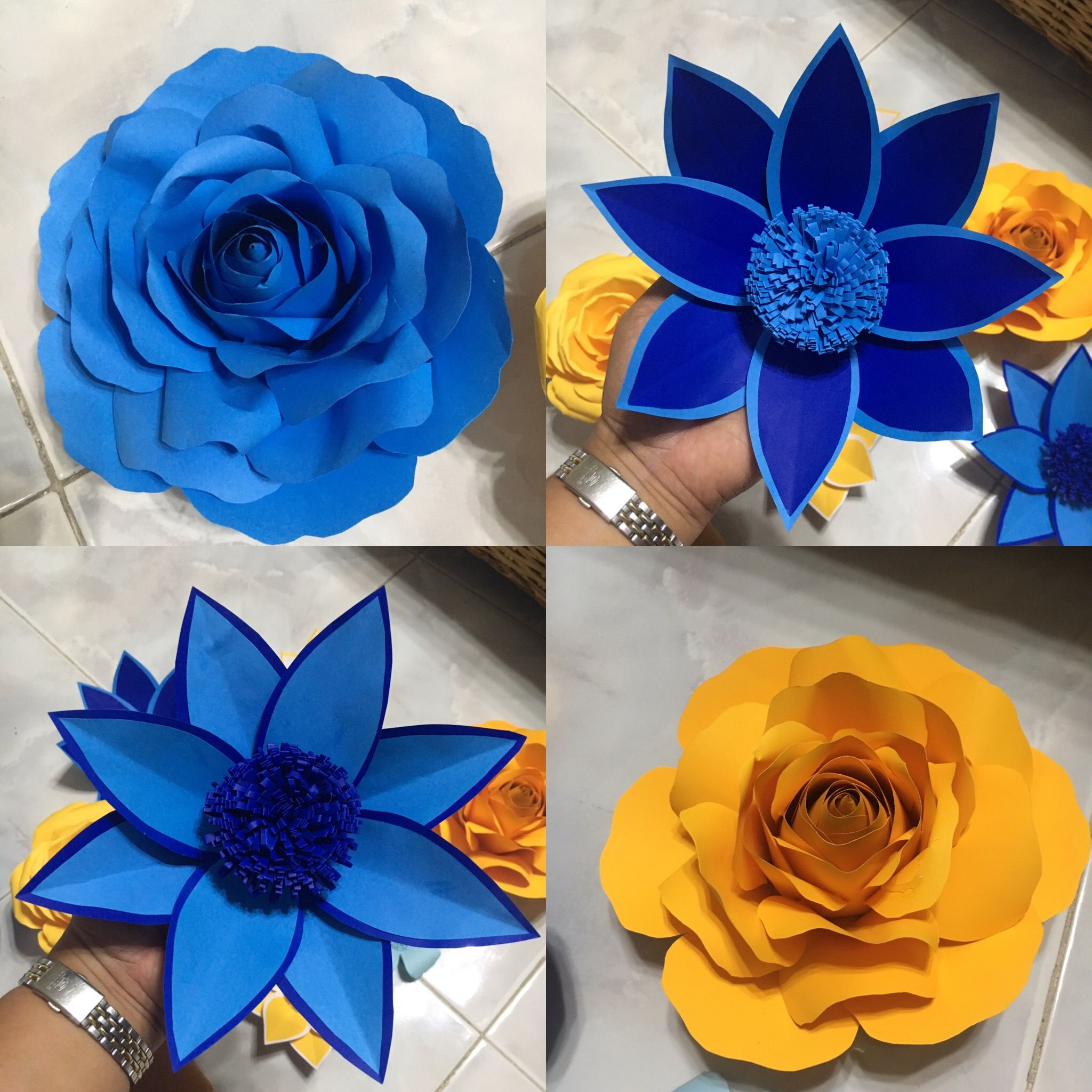 Blue And Yellow Paper Flower By Gelle Diy Gelle Diy Yellow