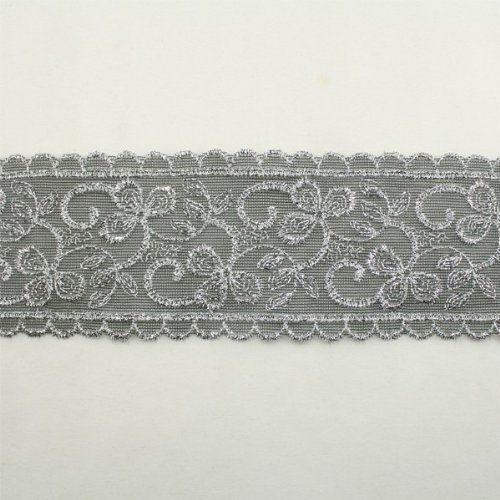 Silver Metallic Floral Flower Lace Trim By The Yard Bridal