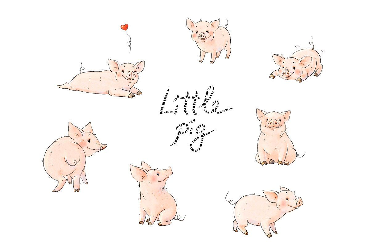 Little pigs cute collection #Sponsored , #ad, #hand#drawn#cute#quot