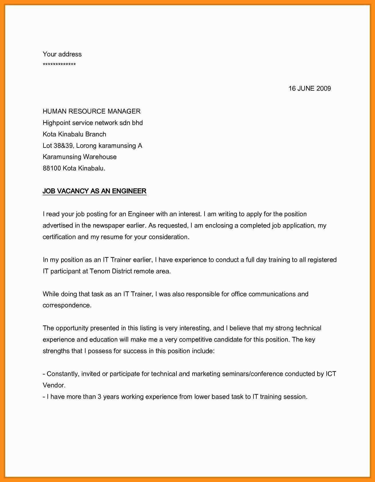 25 Simple Cover Letter For Job Application Job Cover Letter