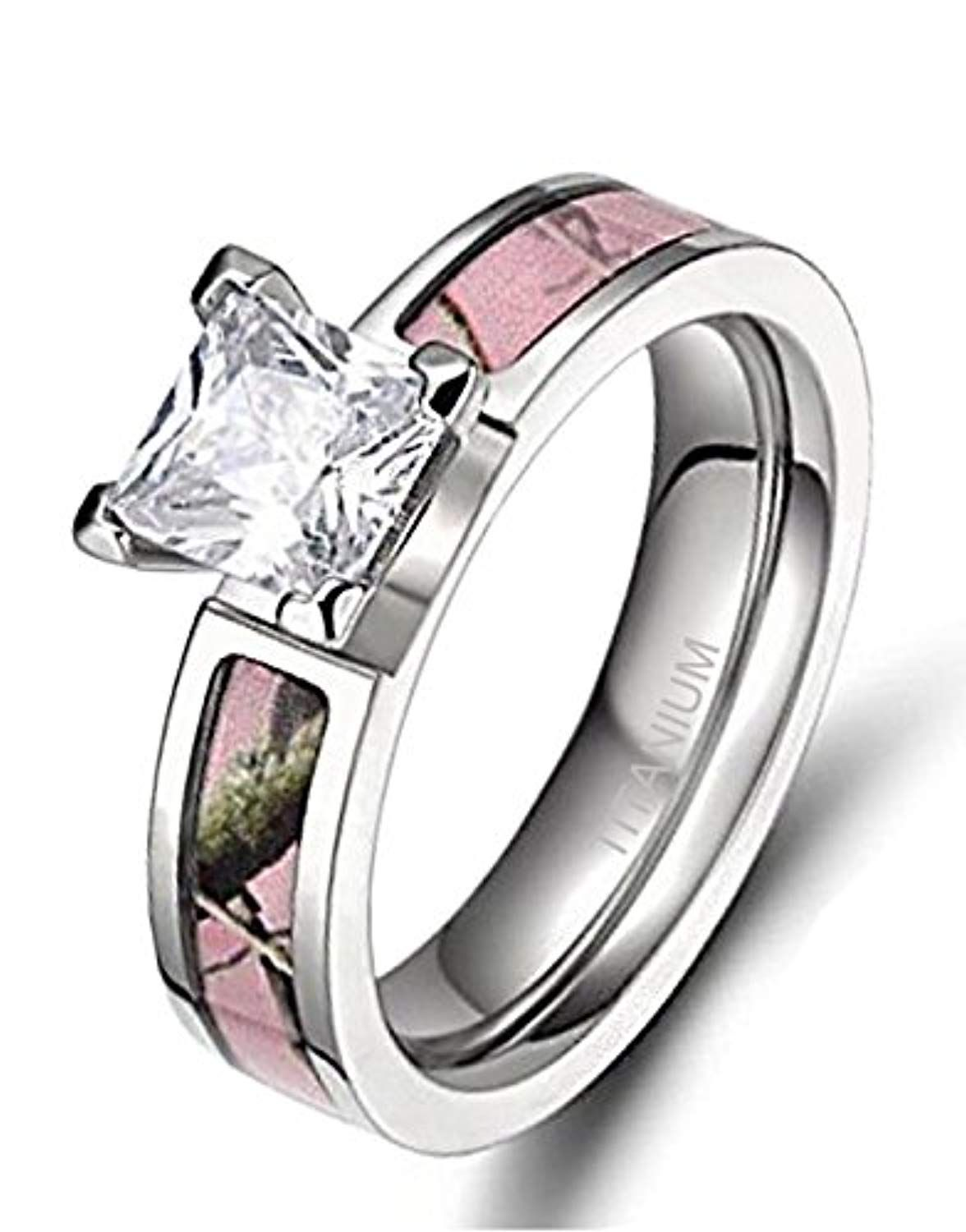 Women's Pink Camo Titanium Engagement Rings with Cubic