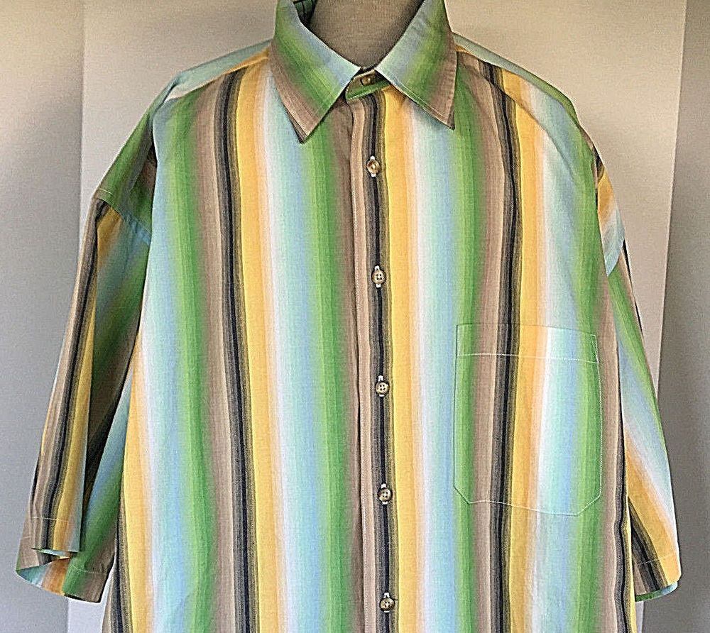 Yellow dress shirt men  Biscayne Bay Striped Yellow Green us Style Button Front Mens Shirt