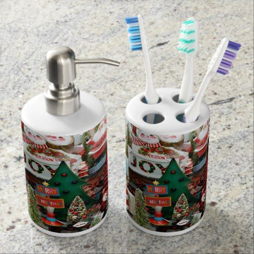 Christmas Santa Bathroom Soap Dispenser ToothBrush