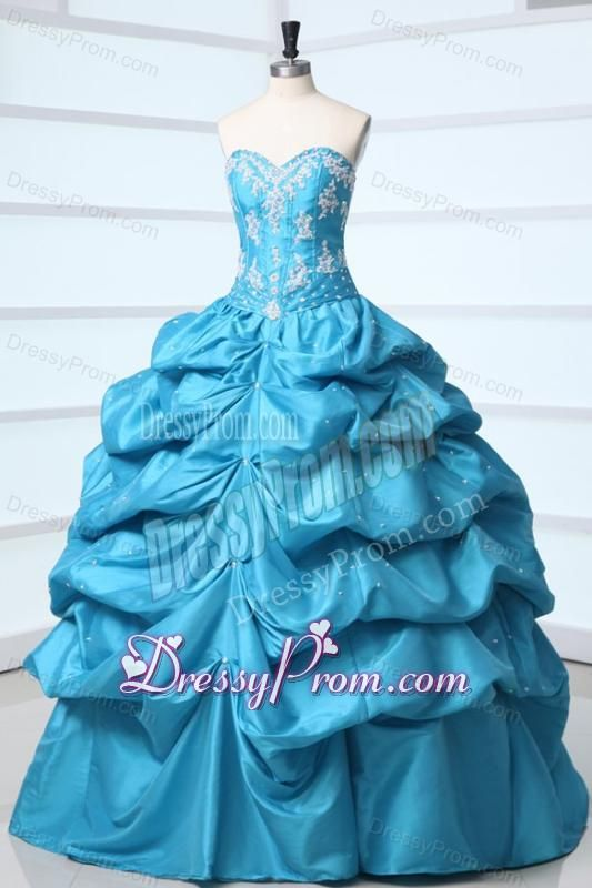 90ba8168c95 Teal Sweetheart Taffeta Quinceanera Dress with Appliques and Pick ...