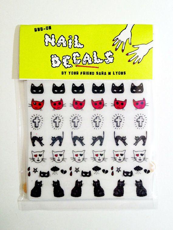 cats & crosses nail decals by saramlyons.