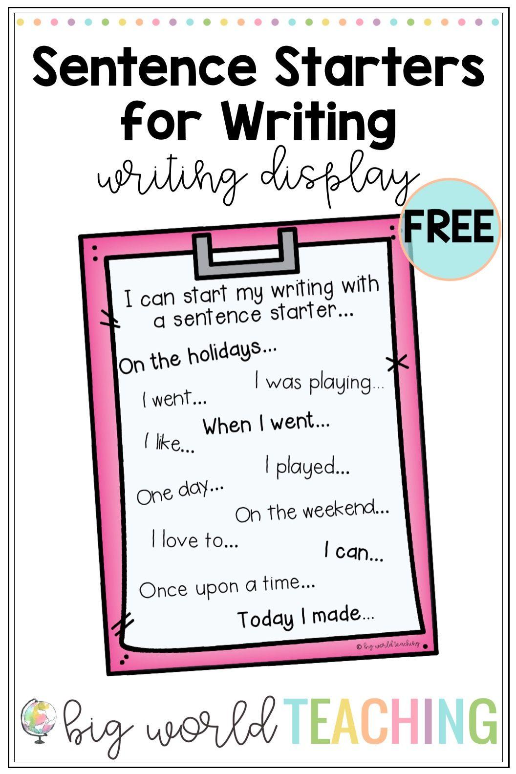 Sentence Starters For Writing Poster