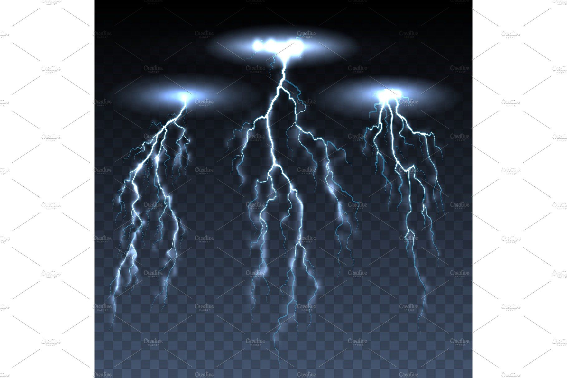 Thunderbolts On Dark Transparent Background