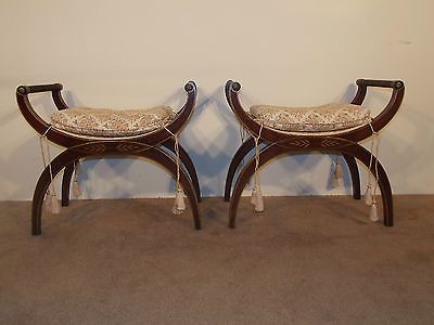 Pair Antique Baker Furniture Company Mahogany Benches Ottomans ...