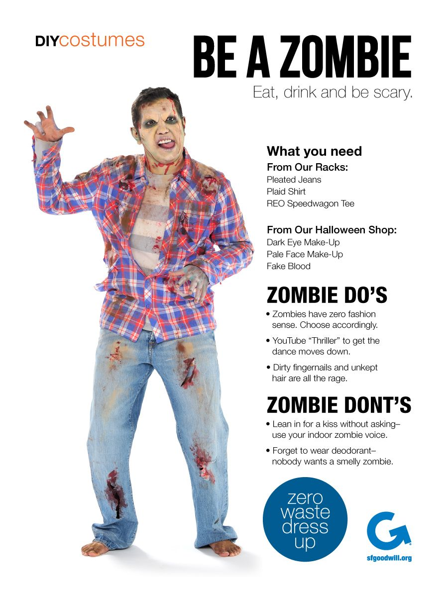Goodwill DIY Halloween Costume, Zombie Goodwill DIY Halloween Costume