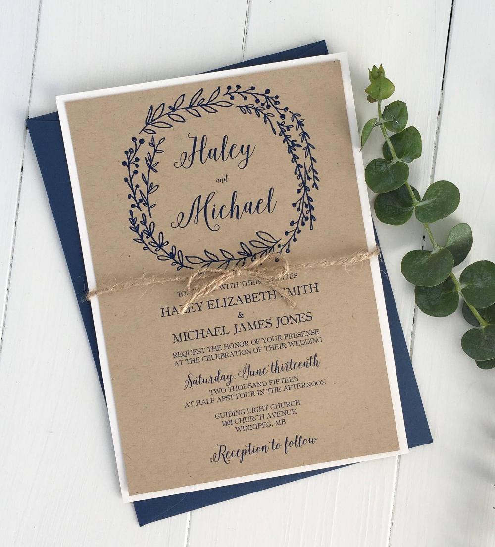 Rustic Wedding Invitation Kraft Wedding Invitation Navy Etsy Handmade Wedding Invitations Navy Wedding Invitations Wedding Invitations Rustic