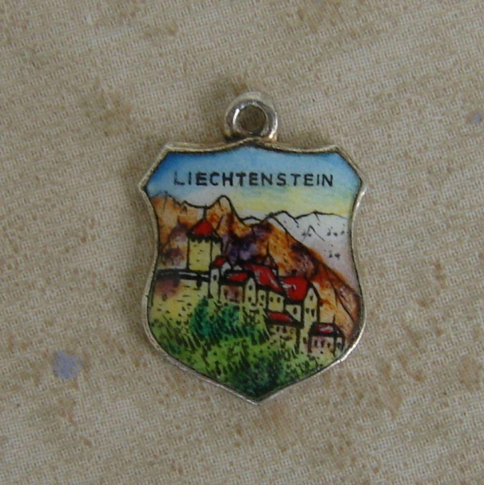 Vintage Silver Liechtenstein Enamel Travel Shield Bracelet Charm - eBay Free Shipping $22.90