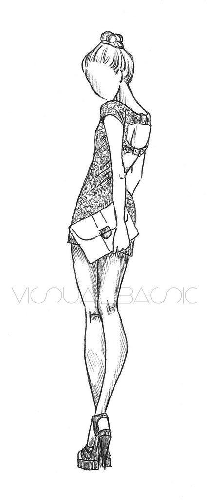 Fashion sketch. I used to draw stuff like this all the time when I was younger...loved the idea of being a designer.