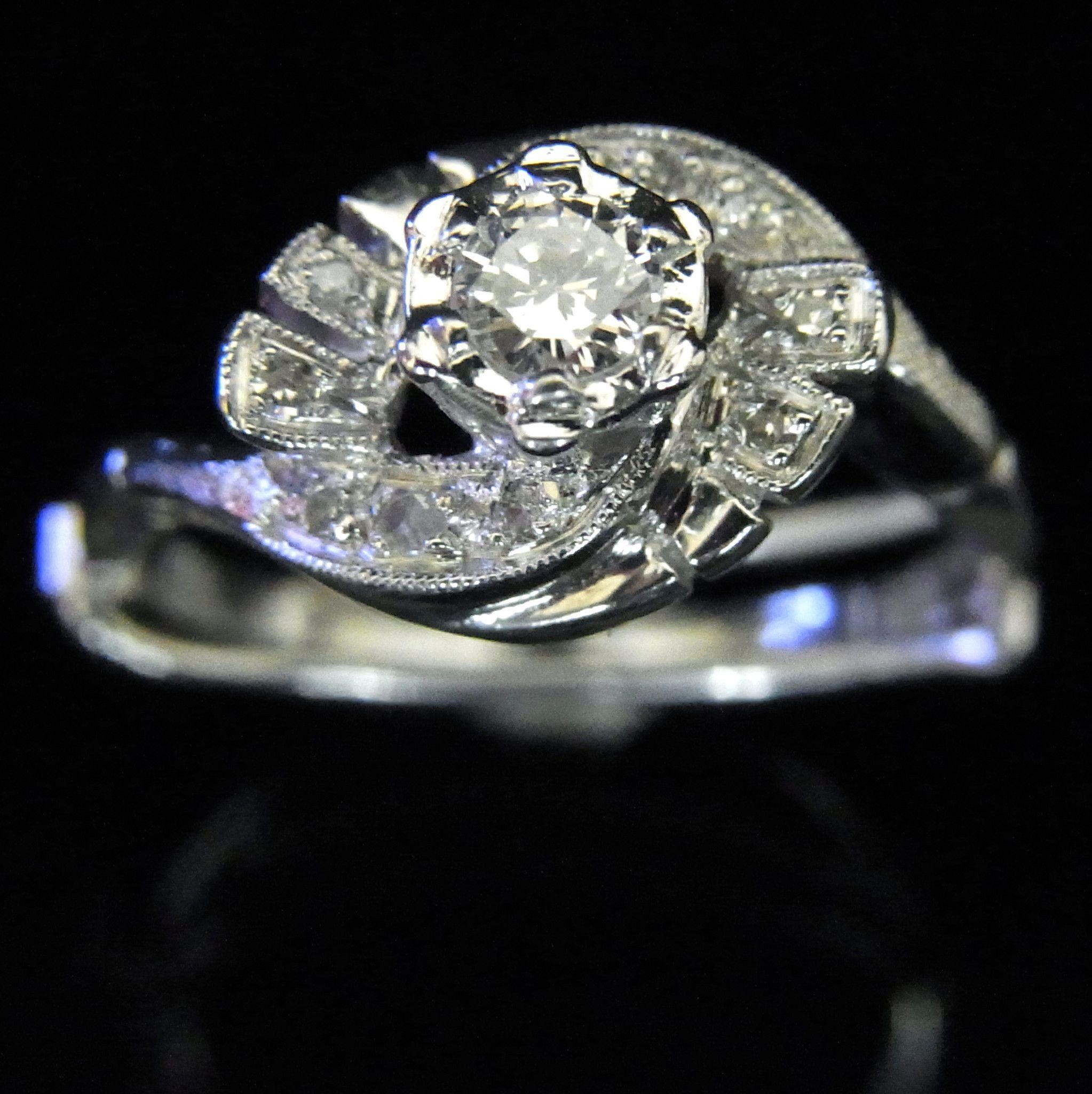Vintage Diamond 14k White Gold Engagement Promise Ring