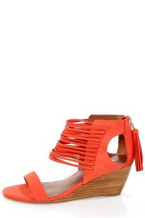 3e14a99ebed Matiko Bryn II Papaya Strappy Ankle Cuff Wedge Sandals at LuLus.com!   lulusrocktheroad