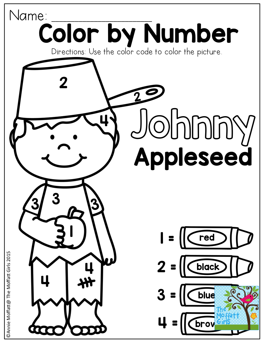 worksheet Johnny Appleseed Worksheets color by number with johnny appleseed tons of fun printables to practice basic skills