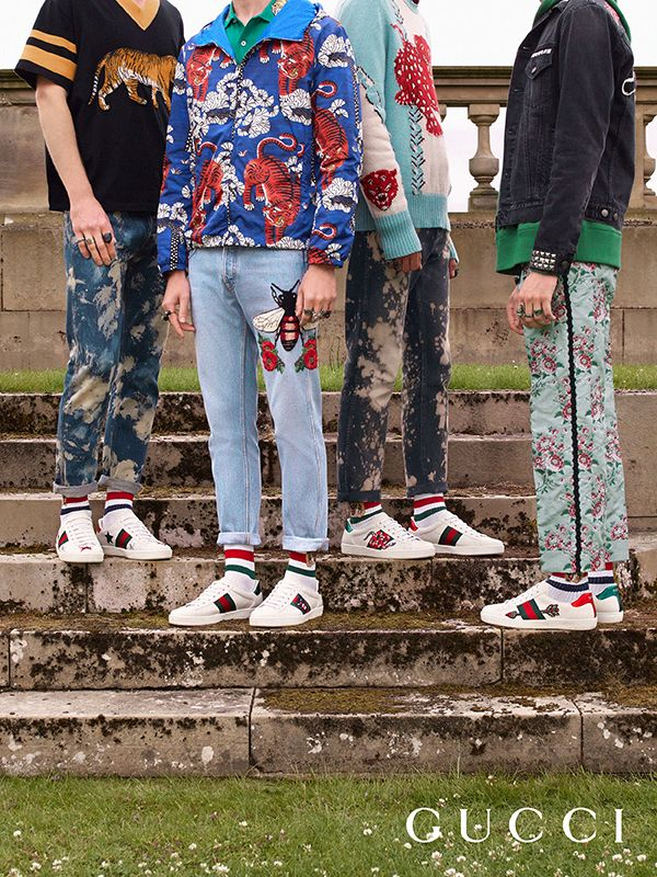 Stars, serpents and arrows are embroidered onto the new collection of men s Gucci  Ace sneakers by Alessandro Michele. 0ff51c92de0