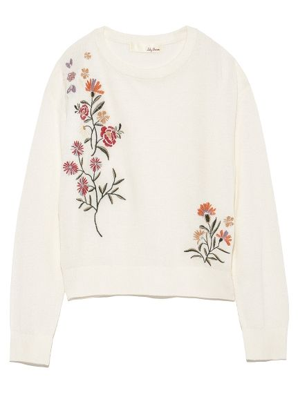 Embroidered knit pullover (knit) | Lily Brown (Lily Brown) | fashion mail order | rabbit online official mail order site