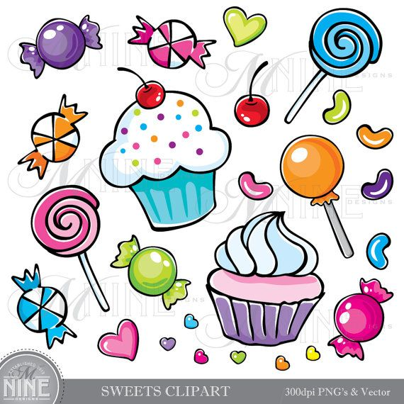 Sweets Clipart Illustrations Digital Clip Art Vector Art File Instant Download Cupcakes Candy Graphics Dibujos De Cupcakes Dibujos Dulces Cuadernos Creativos