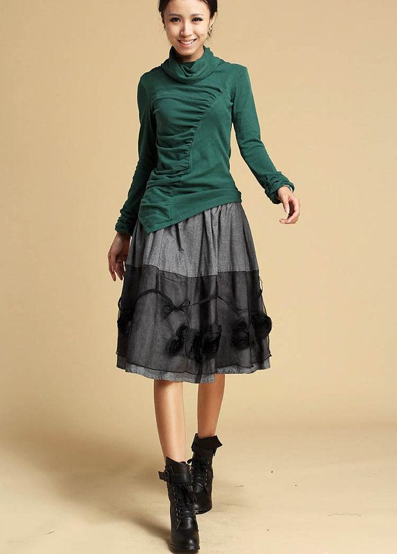 Grey linen skirt  with handmade flower  325 by xiaolizi on Etsy, $38.00
