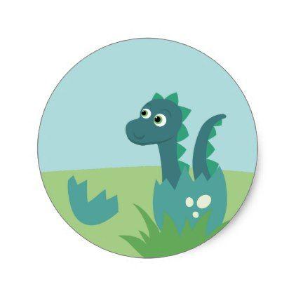 Dinosaur baby in egg sticker classic round sticker round stickers