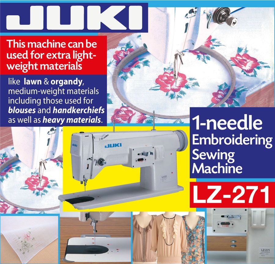 Juki Lz 271 Single Needle Embroidery Machine This Machine Can Be