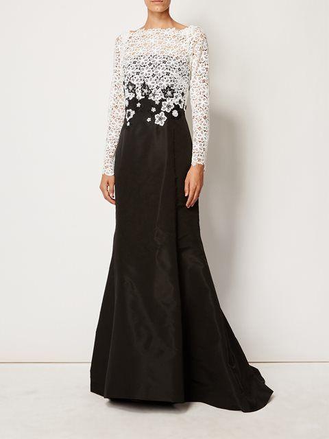 Oscar de la Renta contrasting macrame gown