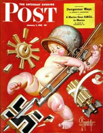 Happy New Year 1943-01-02: Baby New Year at War (J.C. Leyendecker) Plakat, Illustrationskunst, Pulp Kunst, Vintage Magazine, Amerikanische Kunst, Zweiter Weltkrieg, Werbung, Historia, Abbildungen